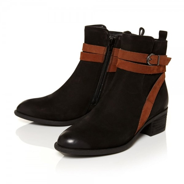 Women's Fashion Black Comfortable Shoes Almond Toe Buckle Ankle Boots image 1