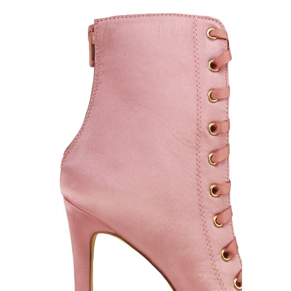 Women's Fashion Bright Pink Lace Up Boots Satin Peep Toe Ankle Boots image 3