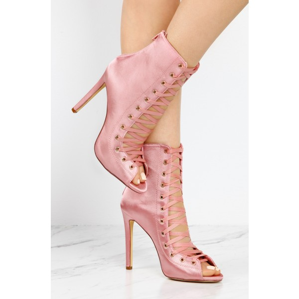Women's Fashion Bright Pink Lace Up Boots Satin Peep Toe Ankle Boots image 2