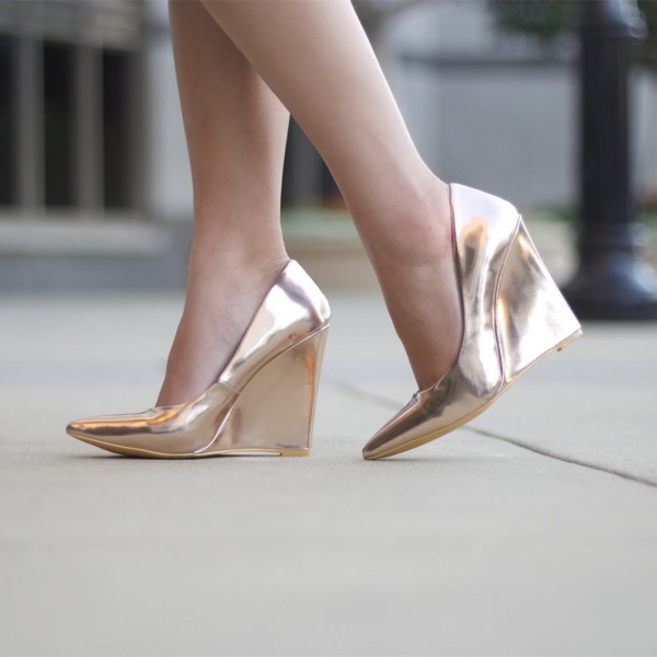 Champagne Closed Toe Wedges Metallic Heels Pumps for Women image 1