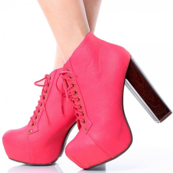 Women's Fashion Coral Red Lace up Boots Chunky Heel Platform Boots image 1