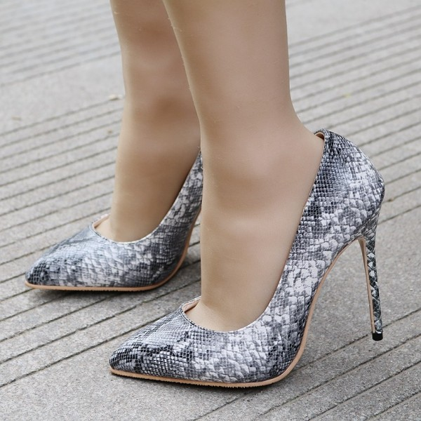 Women's Fashion Grey Phthon Stiletto Heels Pointy Toe Pumps  image 1