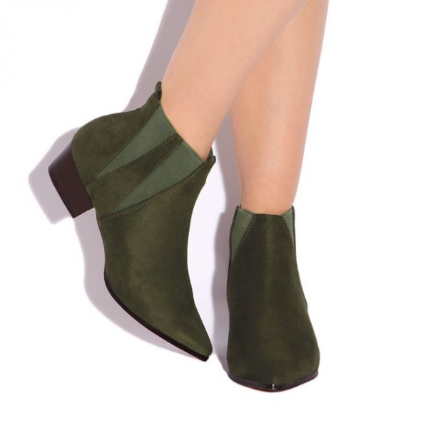 Women's Fashion Olive Green Comfortable Shoes Pointed Toe Ankle Boots image 2