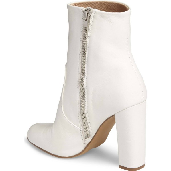 Women's Fashion White Chunky heel Boots Classical Zip Ankle Boots image 4