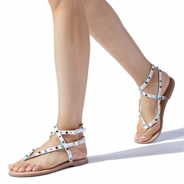 b214ffbe371 White Beaded Summer Sandals Trending Flat Shoes US Size 3-15 image 1 ...