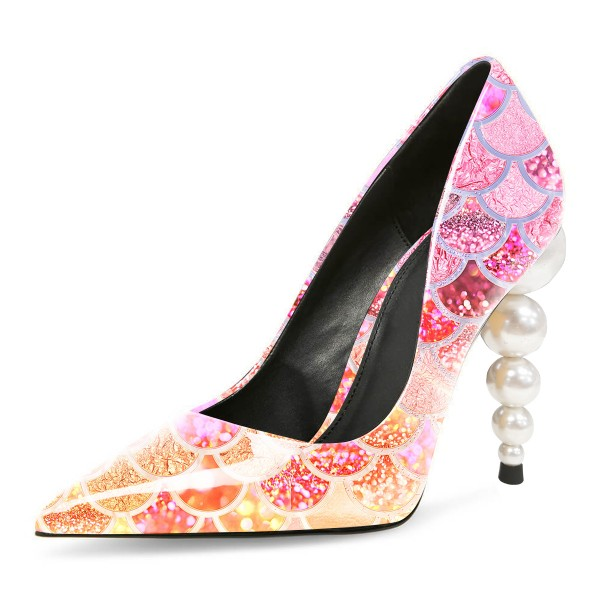 Multicolor Mermaid Evening Shoes Pearl Heel Pumps image 1