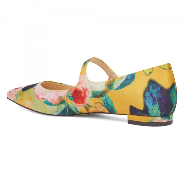 Women's Floral Mary Jane Shoes Pointed Toe Flats image 3