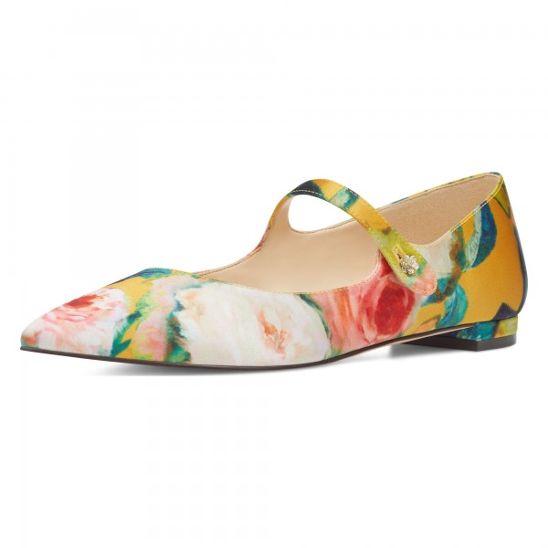 Women's Floral Mary Jane Shoes Pointed Toe Flats image 1