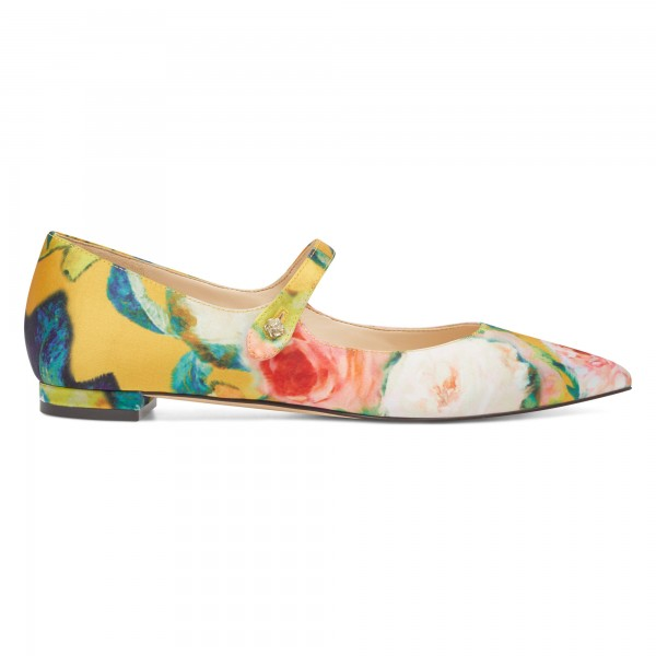 Women's Floral Mary Jane Shoes Pointed Toe Flats image 2