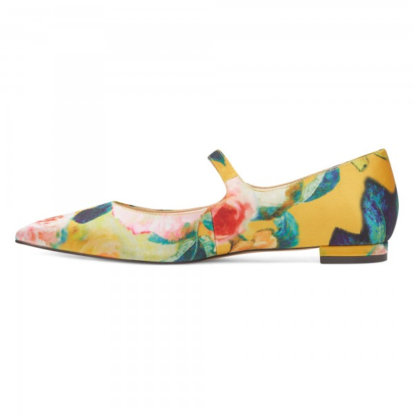 Women's Floral Mary Jane Shoes Pointed Toe Flats image 4