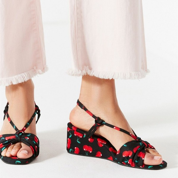Women's Floral Wedge Sandals Open Toe Slingback Sandals image 2