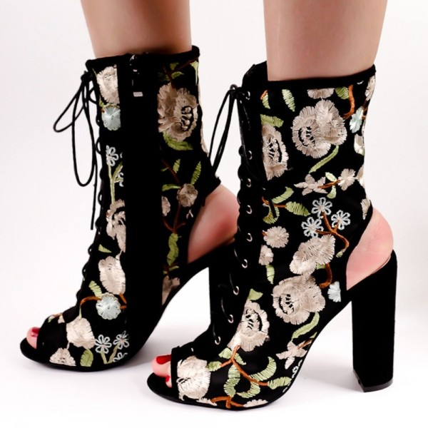 Floral Lace up Boots Slingback Chunky Heel Ankle Boots for Women image 2