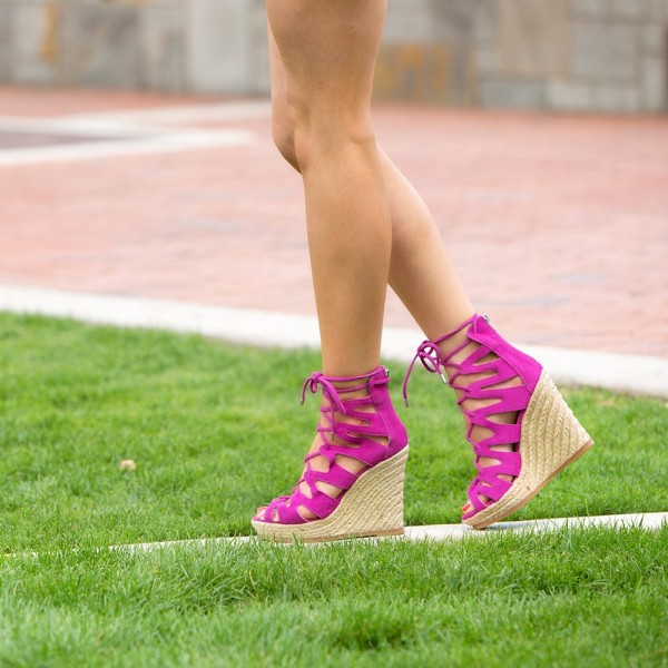 Fuchsia Wedge Sandals Vegan Suede Peep Toe Lace up Platform Wedges image 1