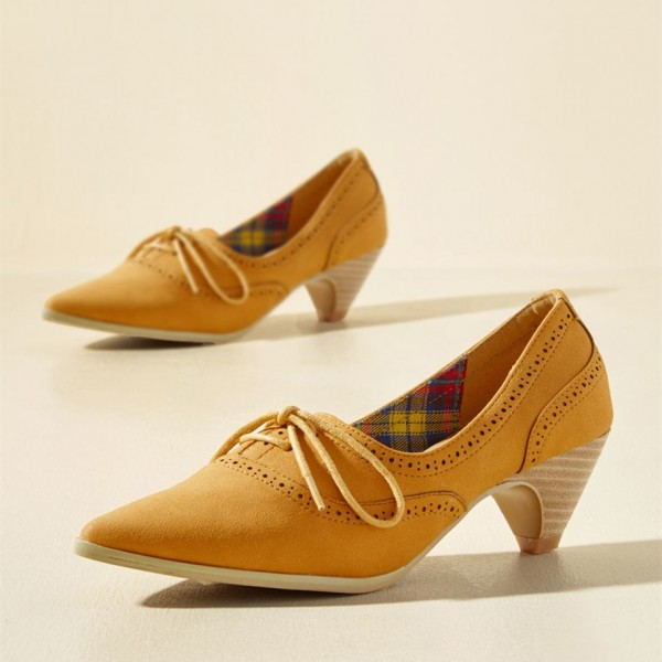 1e021355a6a4 Ginger Hollow out Lace-up Vintage Heels Pointy Toe Cone Heel Shoes image 1  ...