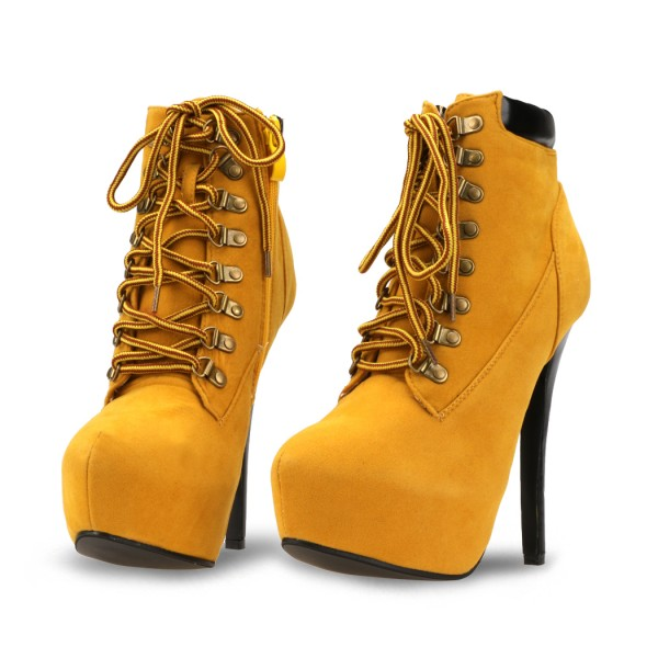 Mustard Lace up Boots Stiletto Heel Platform Vintage Suede Shoes  image 1
