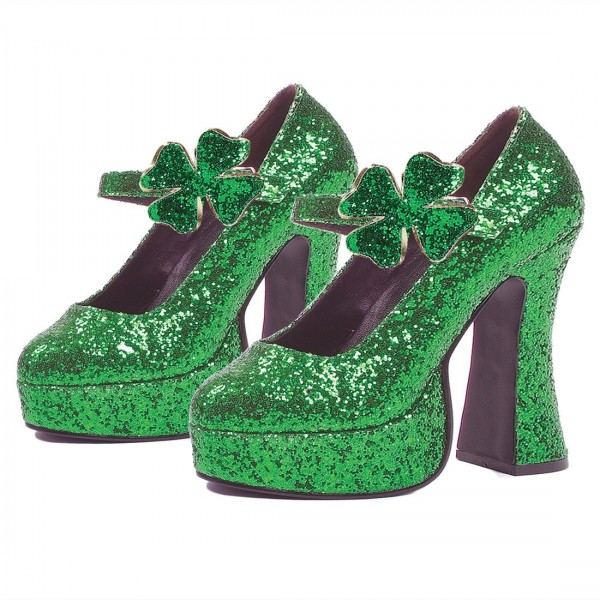 Women's Green Glitter Platform Heels Fashion Flower Buckle Pumps   image 1