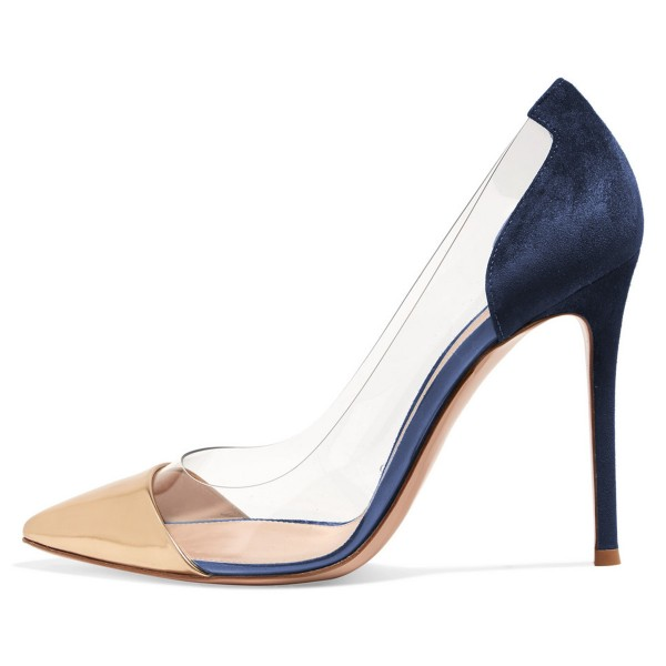 ce6b92792dbc Women's Gold And Navy Clear Heels Stiletto Pumps for Work, Formal ...