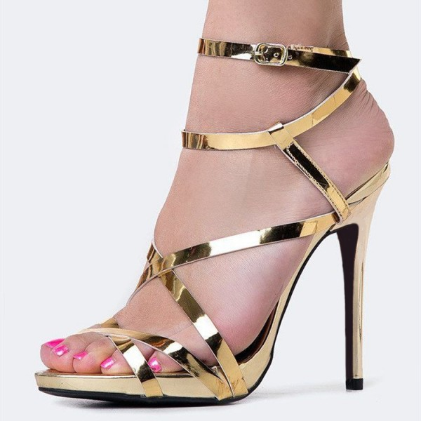 Women's Gold Sexy Strappy Sandals Open Toe Stiletto Heels image 1