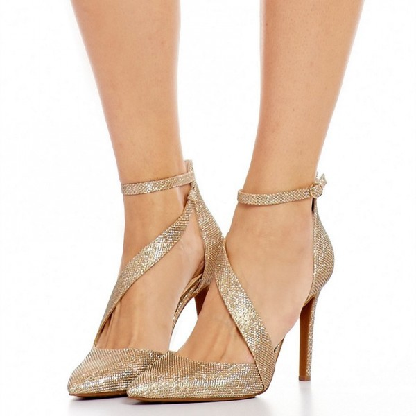 Women's Gold Sparkly Heels Ankle Strap Pointed Toe Heel Pumps image 1