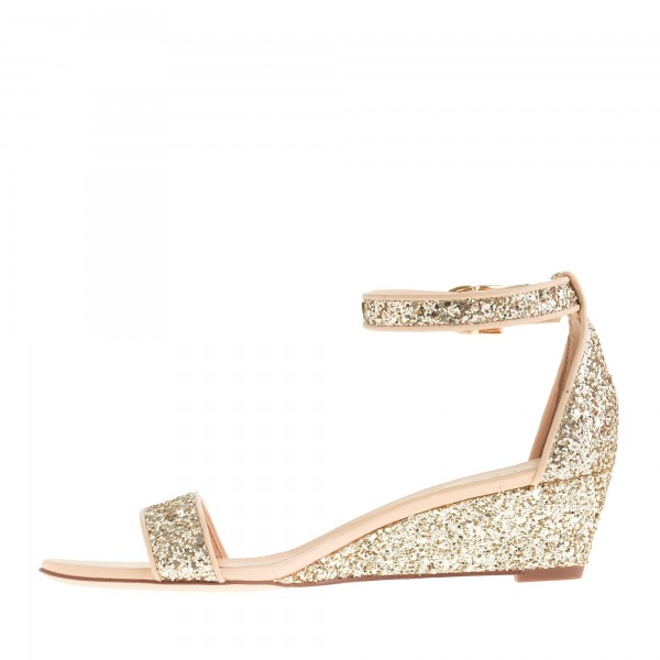 Golden Glitter Bridal Sandals Open Toe Wedge Heels Ankle Strap Sandals image 2