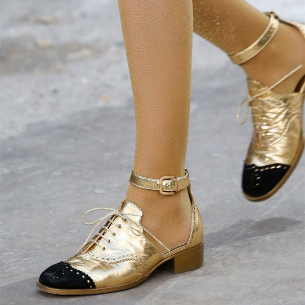 Gold and Black Wingtip Shoes Lace up Ankle Strap Block Heel Oxfords image 7