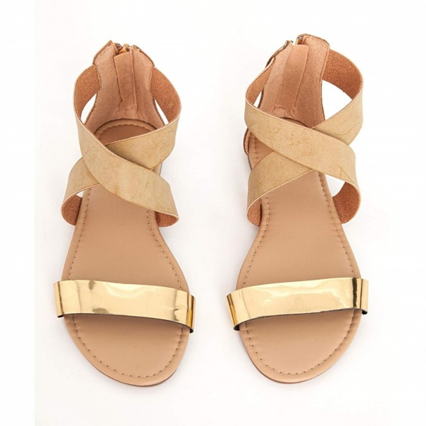 Gold and Khaki Flat Sandals Open Toe Crisscross Strap Sandals image 1