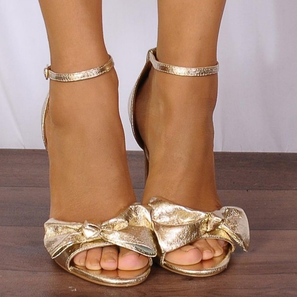 Women's  Golden Open toe Stiletto Heels Ankle Strap Sandals With Bow image 2
