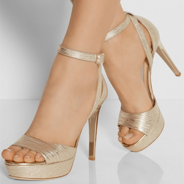 Champagne Prom Shoes Ankle Strap Platform Sandals image 1