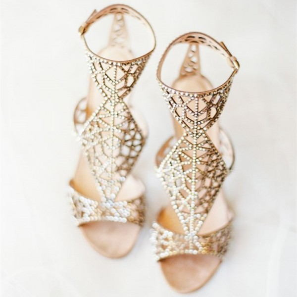 Golden Wedding Shoes Rhinestone Hollow Out Bridal Sandals image 2