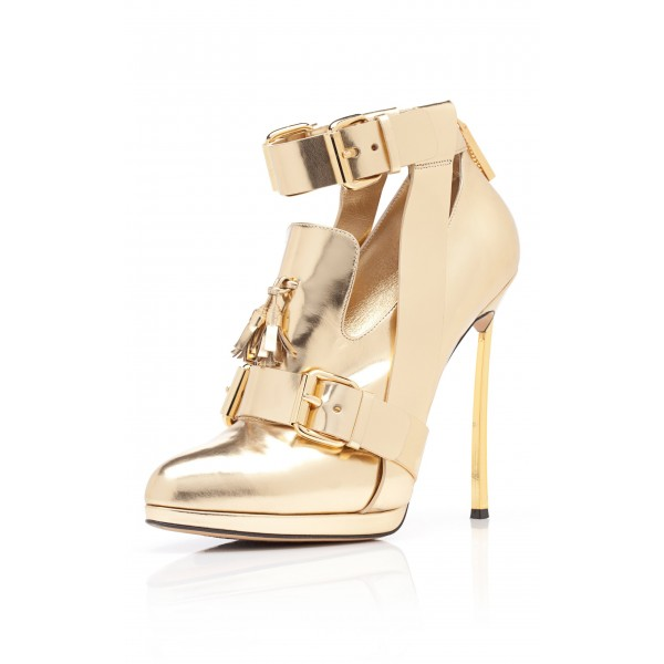 Women's Golden Stiletto Heels Ankle Strap Buckle Pumps Shoes image 1