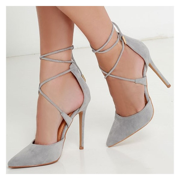 Grey Strappy Heels Closed Toe Stiletto Heel Pumps Suede Shoes image 1