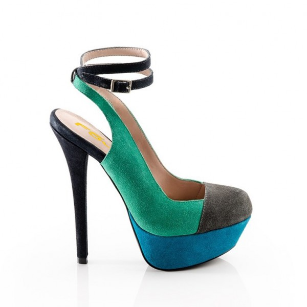 Women's Teal and Blue Stiletto Heel Ankle Strap Heels Pumps Shoes image 2