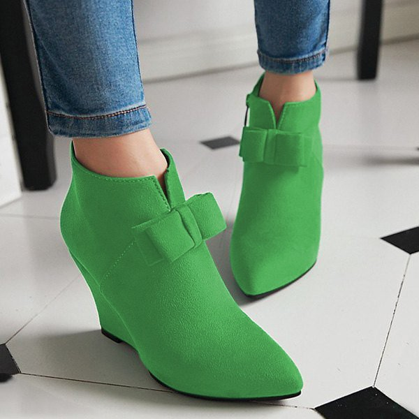 Women's Green Bow Ankle Boots Pointed Toe Wedge Shoes image 1
