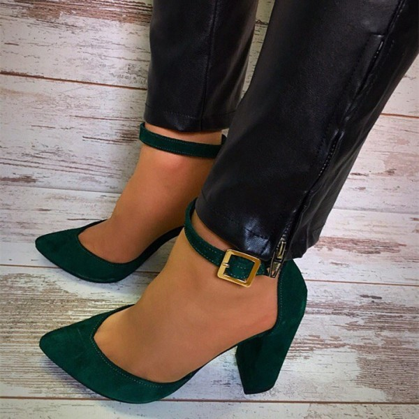 Women's Green Chunky Heels Ankle Strap Heels Pointed Toe Pumps image 1