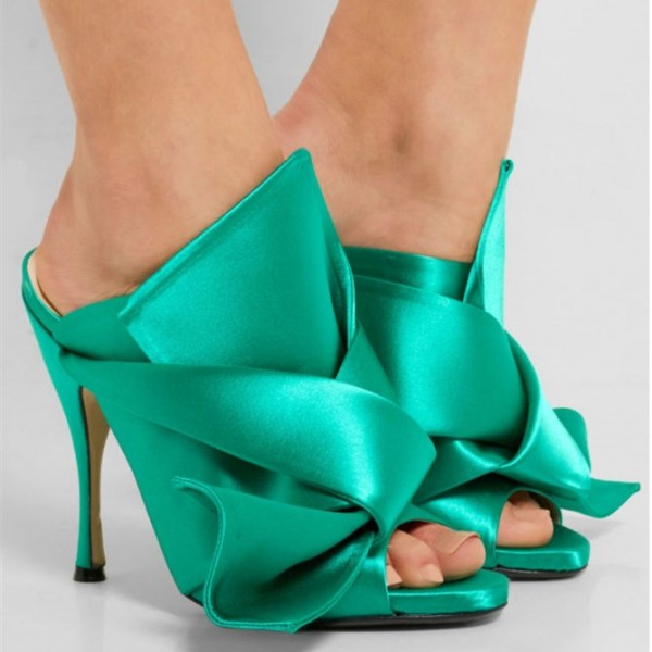 Turquoise Heels Knot Satin Open Toe Mule Sandals for Prom image 2