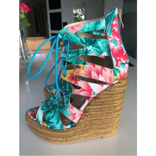 Jungle Floral Heels Open Toe Lace up Platform Wedge Sandals image 1