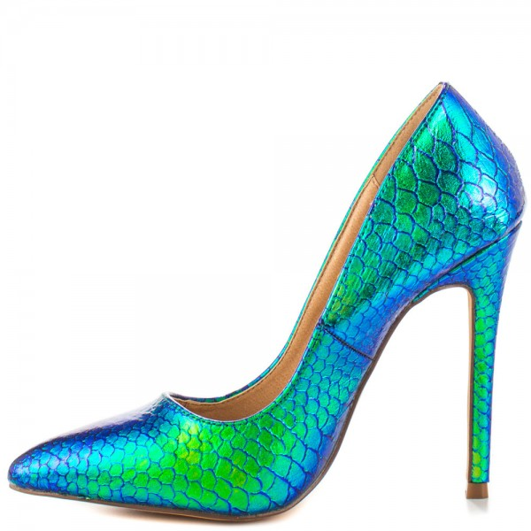 Ariel Green Python Gradient Color Stiletto Heels Pointy Toe Pumps image 4