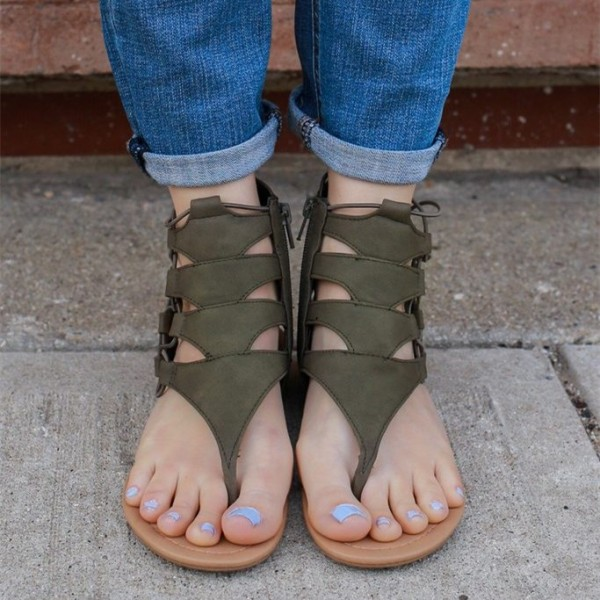 Women's Green Lace up Flats Gladiator Sandals image 3