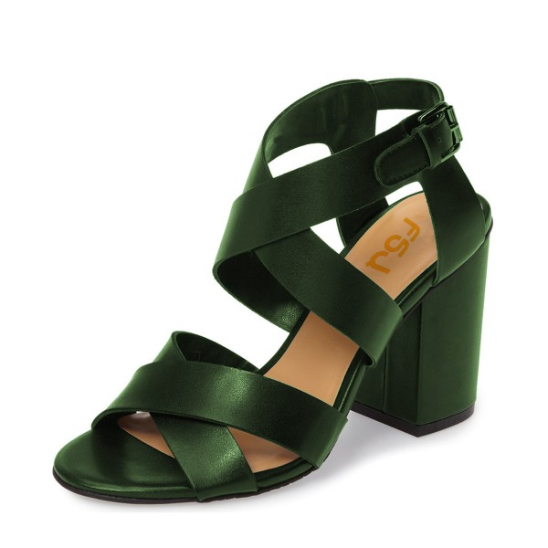 Green Block Heel Sandals Open Toe Women's Summer Sandals image 1