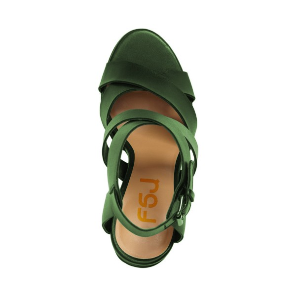 Green Block Heel Sandals Open Toe Women's Summer Sandals image 2