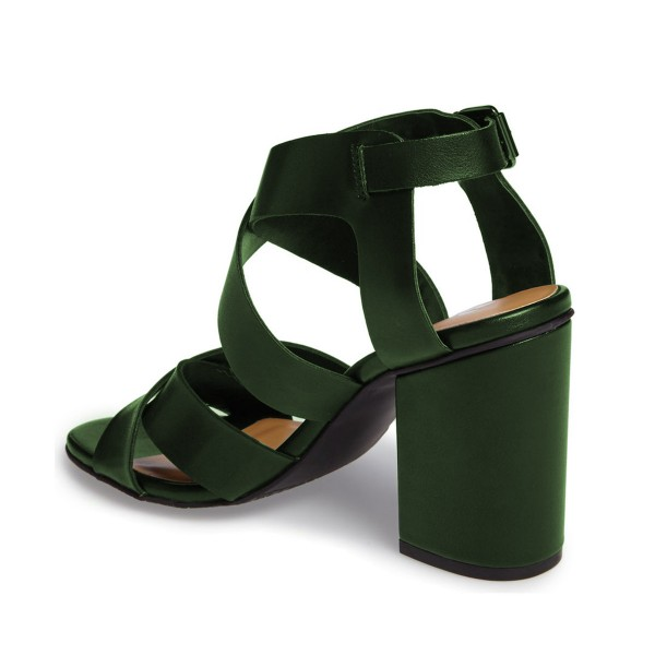 Green Block Heel Sandals Open Toe Women's Summer Sandals image 3
