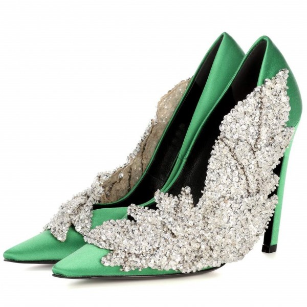 Green and Silver Sequined Prom Shoes Satin Stiletto Heels Pumps image 1