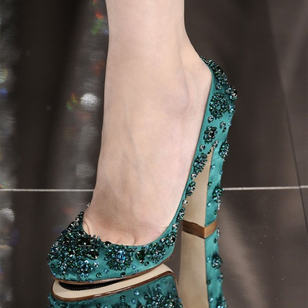 Green Rhinestone Heels Round Toe Chunky Heel Evening Shoes  image 1