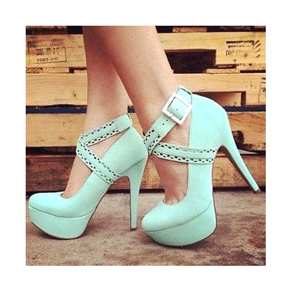 Women's Green Stiletto Heels Crossed-over Ankle Straps Platform Shoes image 1