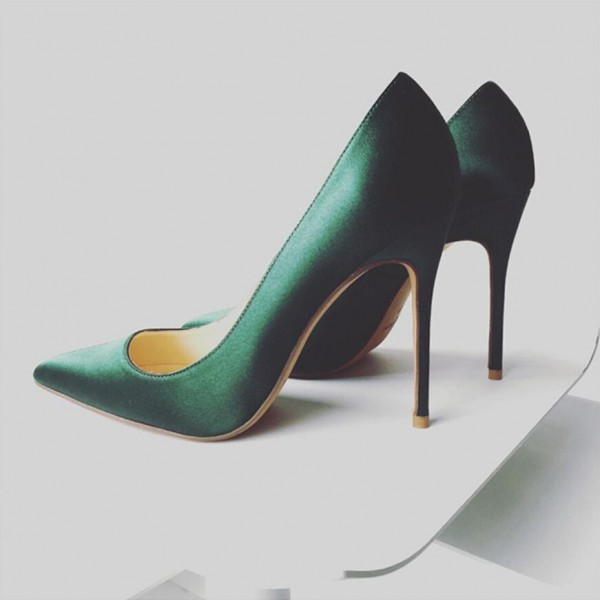 Green Satin Stiletto Heels Pointy Toe Dressy Pumps for Office Ladies image 2