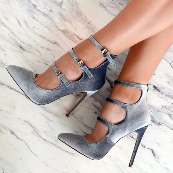 Grey Velvet Heels Pointy Toe Stiletto Heel Pumps with Buckles image 1