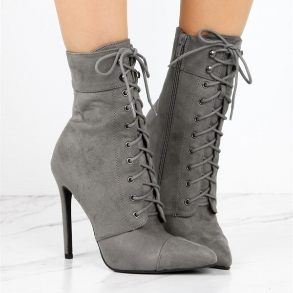 Women's Grey Lace Up Boots Suede Chunky Heels Retro Ankle Boots image 2