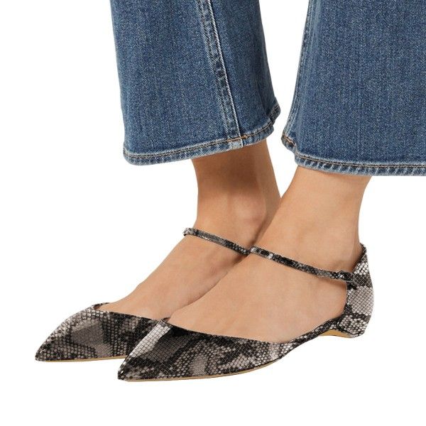 Women's Grey Python Ankle Strap Almond Toe Comfortable Flats image 1
