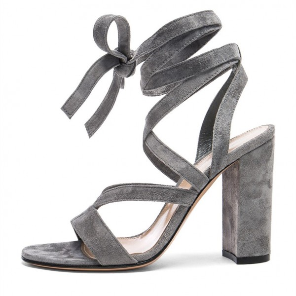Women's Grey Soft Suede Chunky Heel Strappy Sandals image 3
