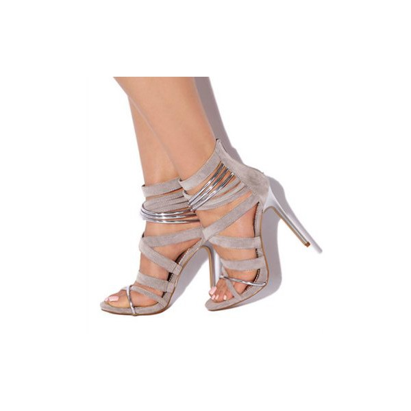 Grey Suede Vegan Shoes Open Toe Stiletto Heel Sexy Sandals image 1